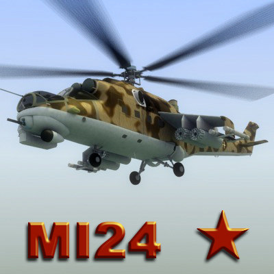 3d model of mi24 hind attack helicopter