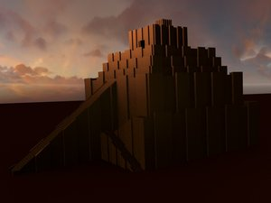 ziggurat babylon temple obj