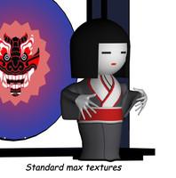 geisha kimono 3d max