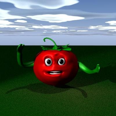 3d tomatoe character cartoon