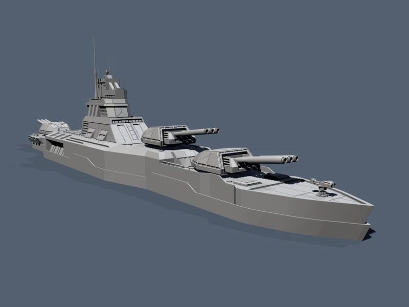 naval battle cruiser 3d c4d