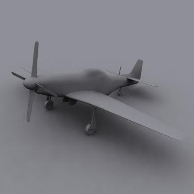 3d model of p-51d mustang