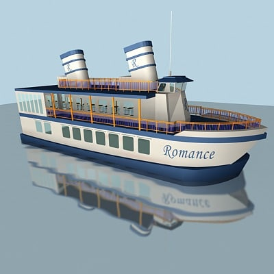 3ds max tourist motorboat lake
