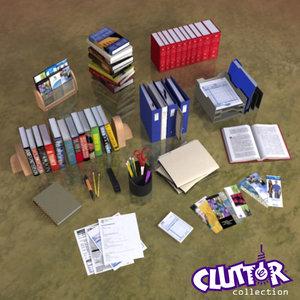 3d model book store clutter