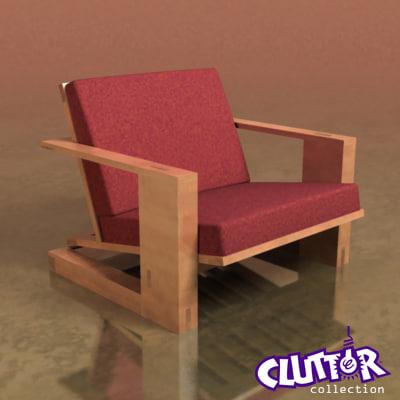3d model reading chair