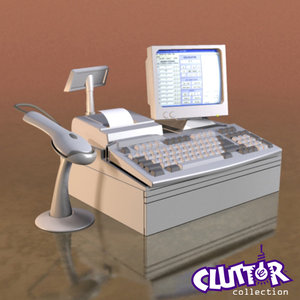 computer cash register 3d model