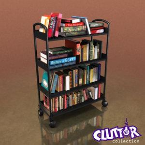 3d book cart model