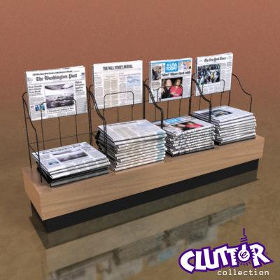 3d model newspaper rack