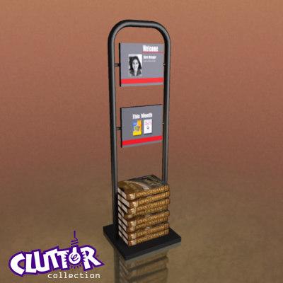 3d book clutter model