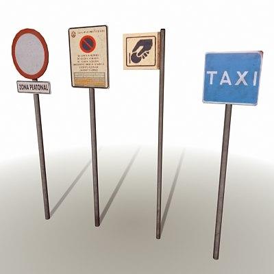 street signs spanish 3d model