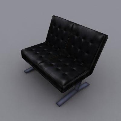 3dsmax black leather bench
