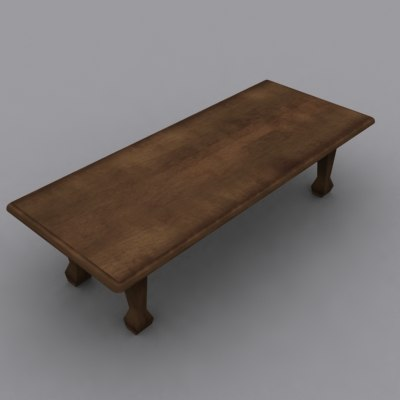 3d large wooden table model