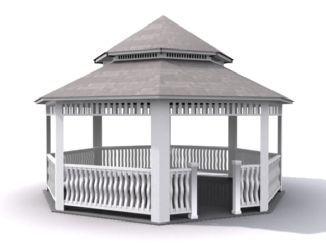 3ds max gazebos wood painted