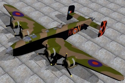 handley page halifax bomber 3d max