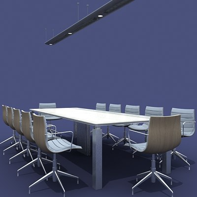 conference table chairs 3d model