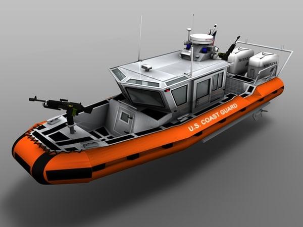 3d coast guard rb-hs boat model