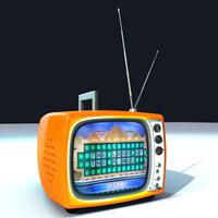 3d model of cartoony retro tv-set