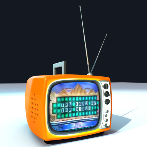 3d model of cartoony retro tv-set