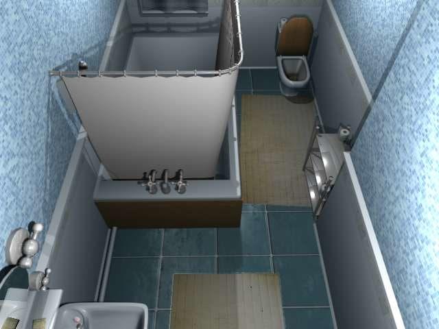 3d model bathroom rolls shower
