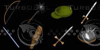 Medieval Weapons & Helms Set