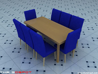 3ds max table chairs