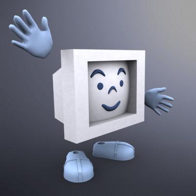 cartoon computer obj