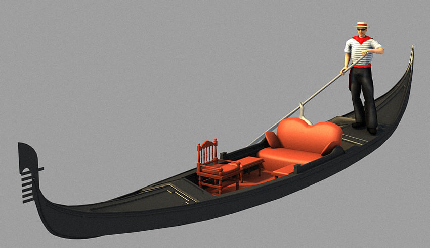 gondola boat boatman 3d model