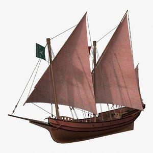 xebec pirate ship 3d model