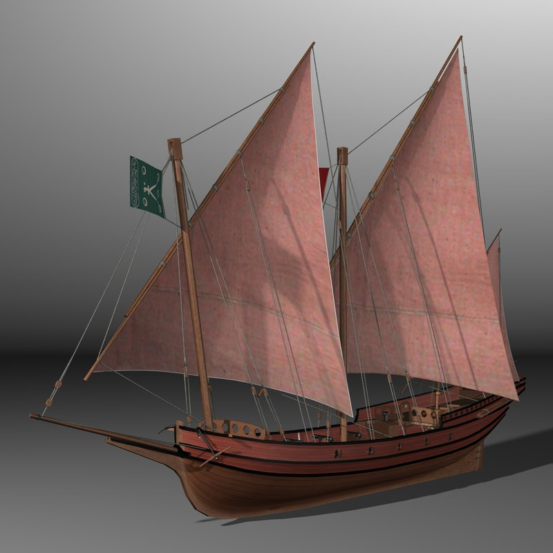 xebec pirate ship 3d model