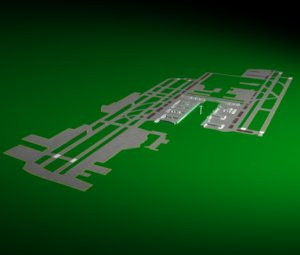 los angeles international airport runway 3d model