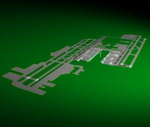 los angeles international airport runway 3d model