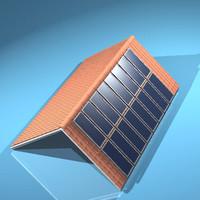 roof tiles solar panels 3d model