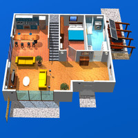 3d model house cutaway