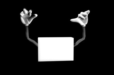 3d waving cartoon hands box model