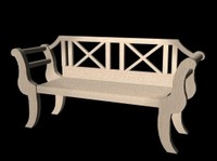 garden bench 3d lwo