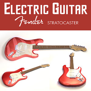 3d electric guitar stratocaster - model