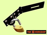 3d padlock hasp staple locked