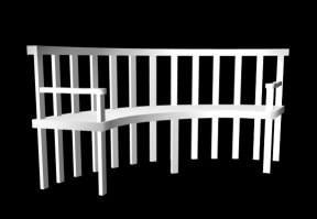 3d model of curved garden bench