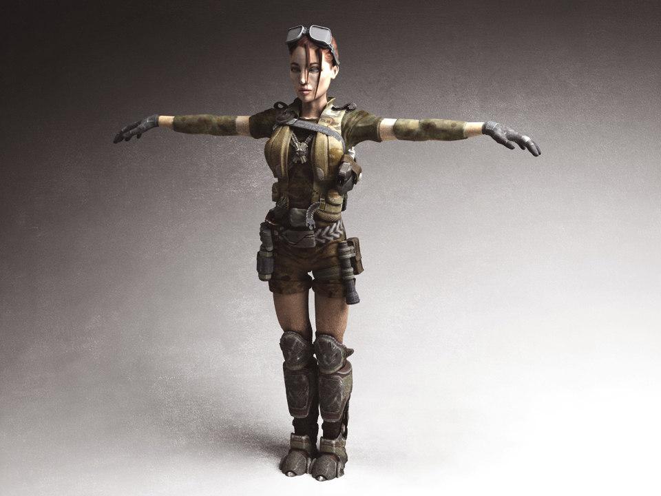 3d model woman solder character