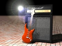Strat-Style Guitar with Half Stack Amp