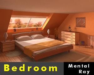 3d model bedroom garret floor -