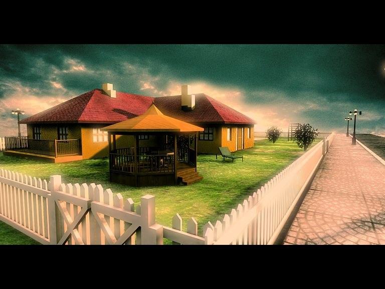 3d model house garden street