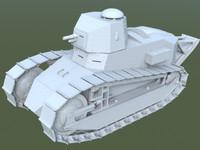 3d model soviet tank 1920