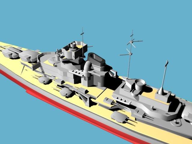 3d model bismark german battleship