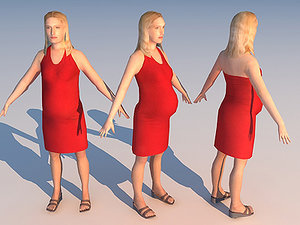 3d character pregnant 01 model