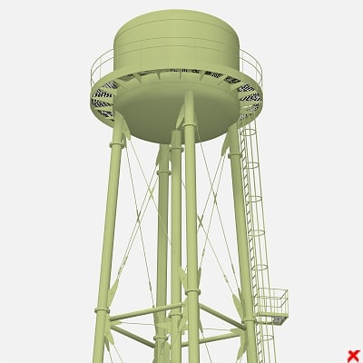 3d water tower model