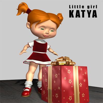 3d model little girl katya gift box