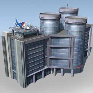 hospital building air ambulance 3d model