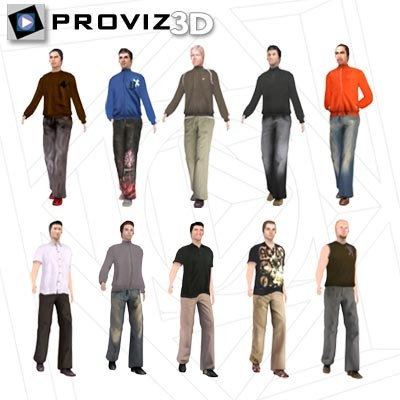 3ds max walking casual men