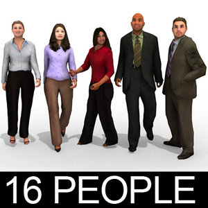 16 people - business 3d model